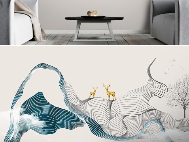 Фотообои Золотые олени на текстурных полосках