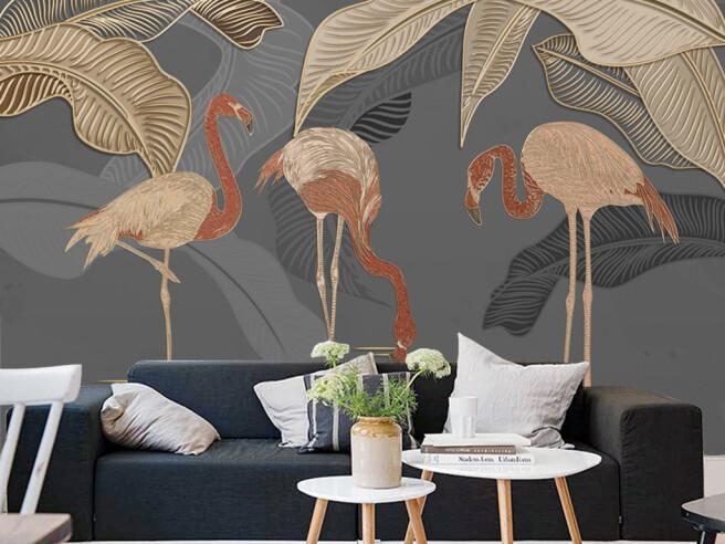 Бронзовые листья и фламинго