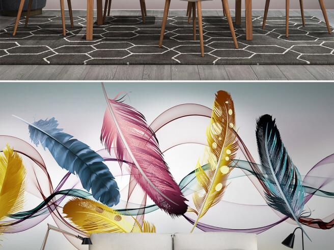 Фотообои Разноцветные перья и ленты