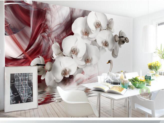 Фотообои Орхидеи и лебеди
