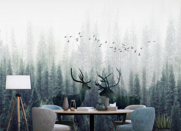 Птицы над оленями