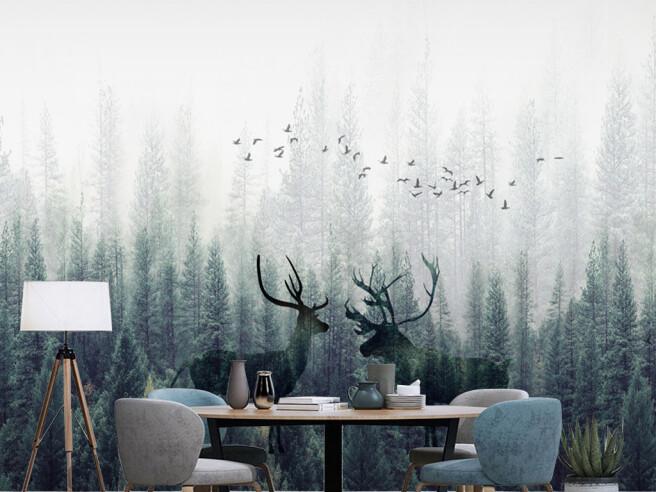 Фотообои Птицы над оленями