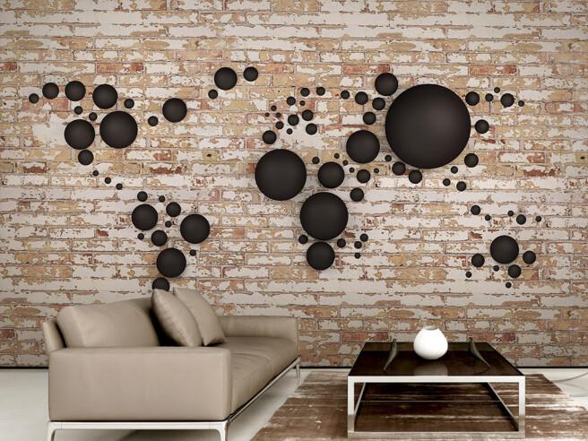 Фотообои Коричневые круги на кирпичной стене