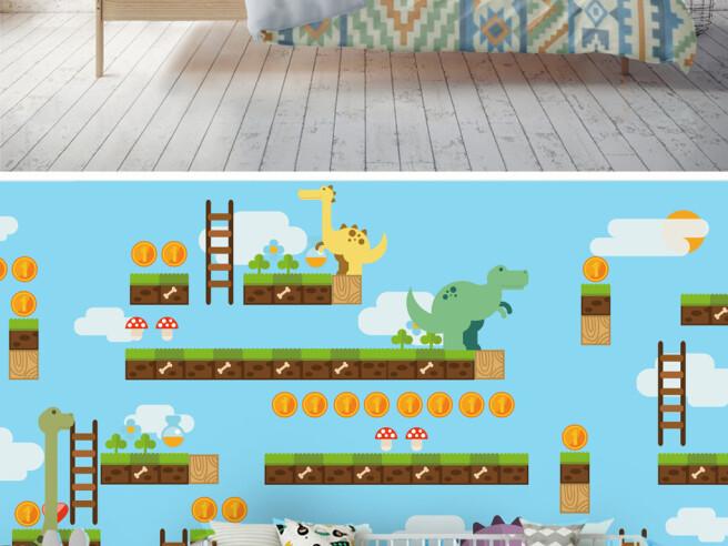 Фотообои Компьютерная игра с динозаврами
