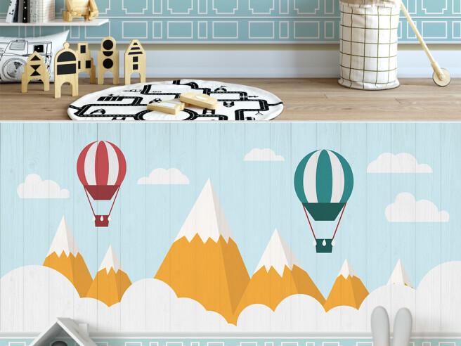 Фотообои Воздушные шары над коричневыми горами