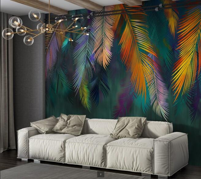 Фотообои красочные тропические листья