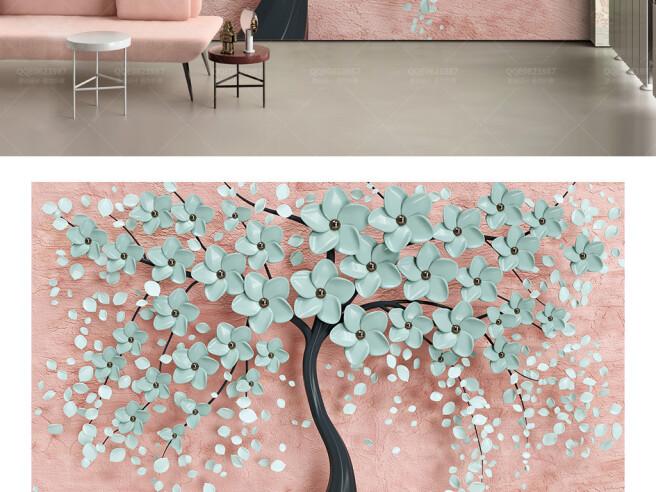 Бирюзовые цветы на дереве
