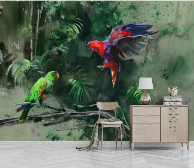 Фотообои попугаи в джунглях