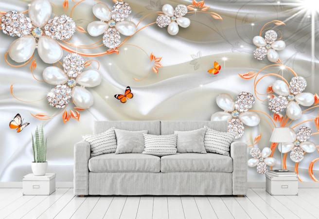 Фотообои бабочки и жемчуг