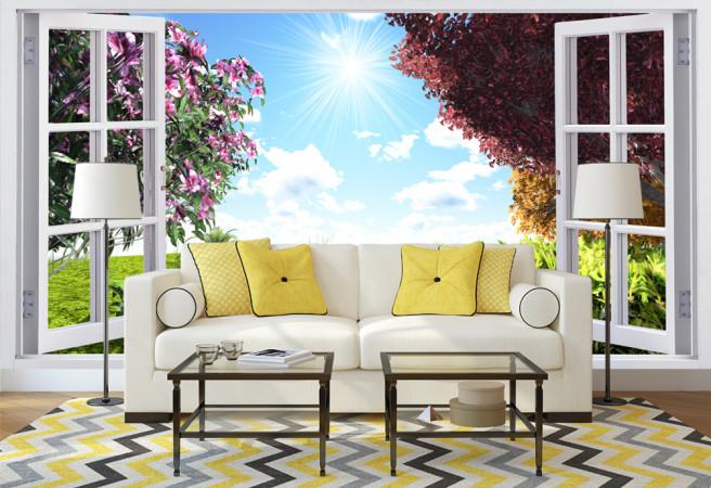 Фотообои Цветы за окном