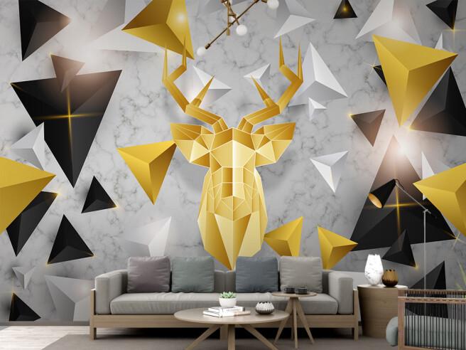 Золотой 3D олень