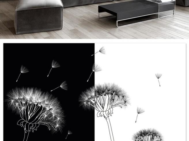 Фотообои Черно-белые одуванчики