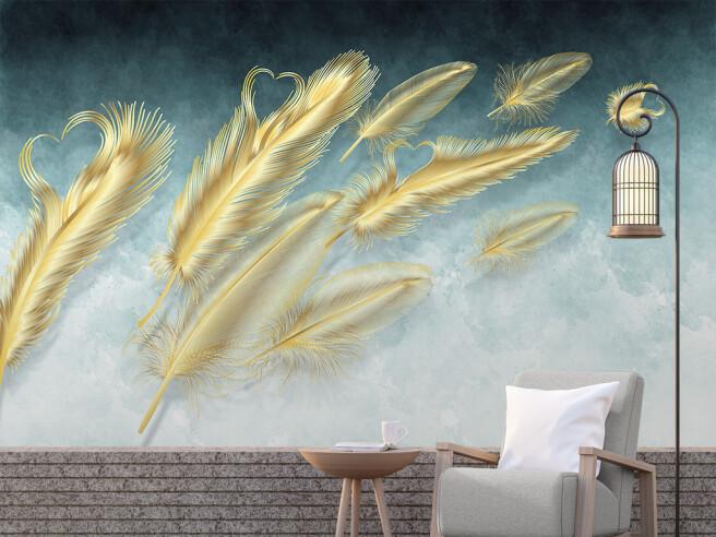 Фотообои Золотые перья на ветру