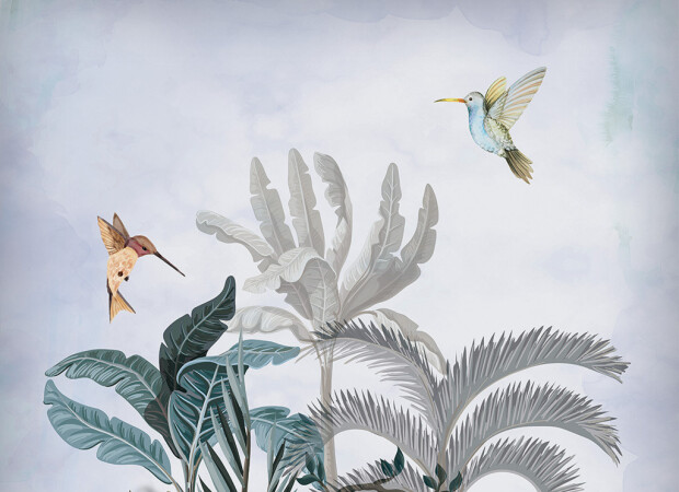 Колибри на тропическим кустом