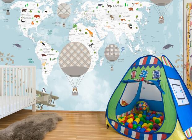 карта с шарами и животными