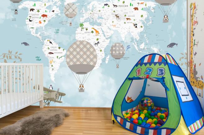 Фотообои карта с шарами и животными