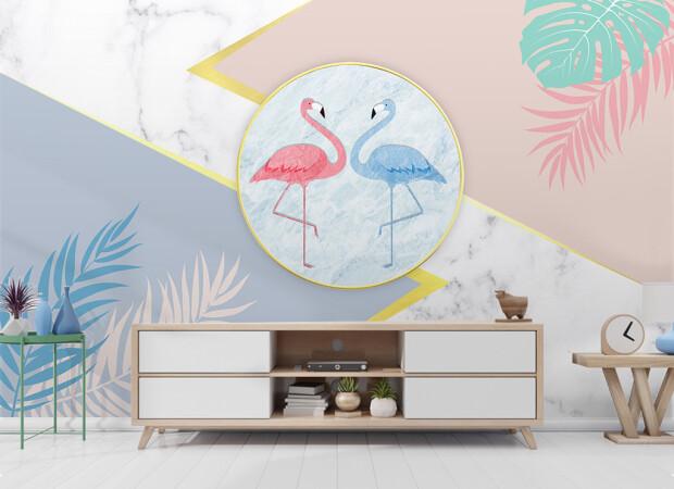 Фламинго на гранитном фоне