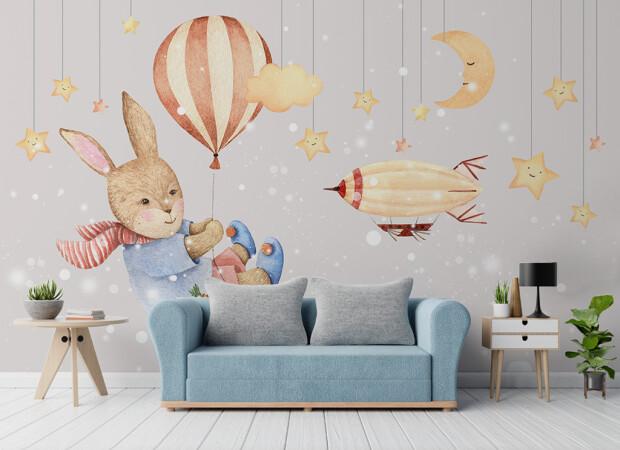 Заяц летящий на воздушном шарике