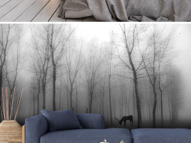 Фотообои Олени в пасмурном лесу