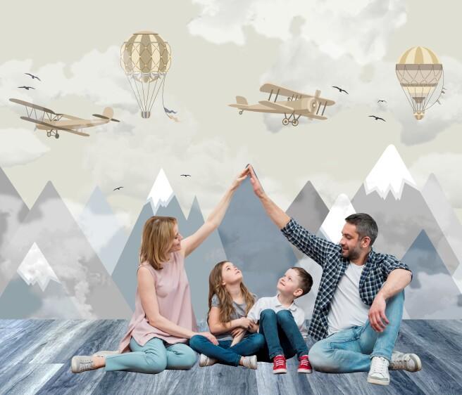 Фотообои горы самолеты облака