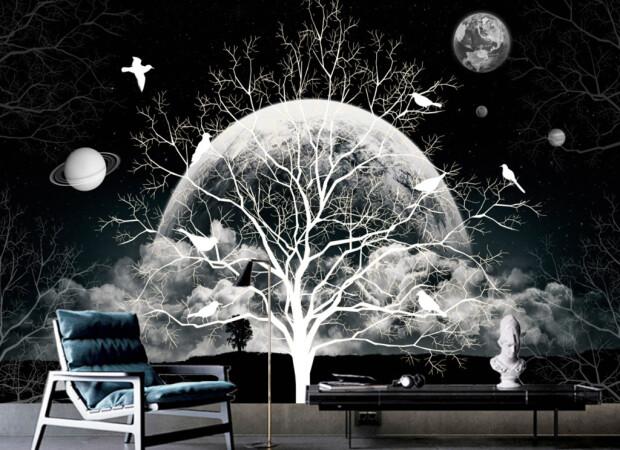 Белое дерево ночью