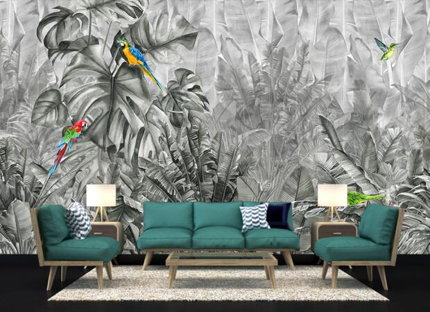 чб тропики и попугаи