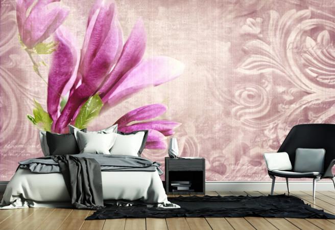 цветочная сиреневая фреска