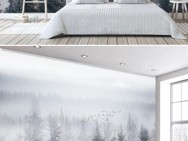 Фотообои Лес в тумане и птицы