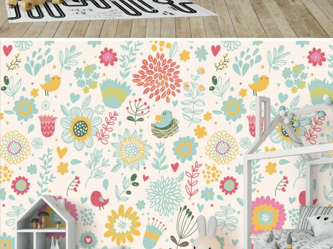 Фотообои Маленькие цветочки и птички