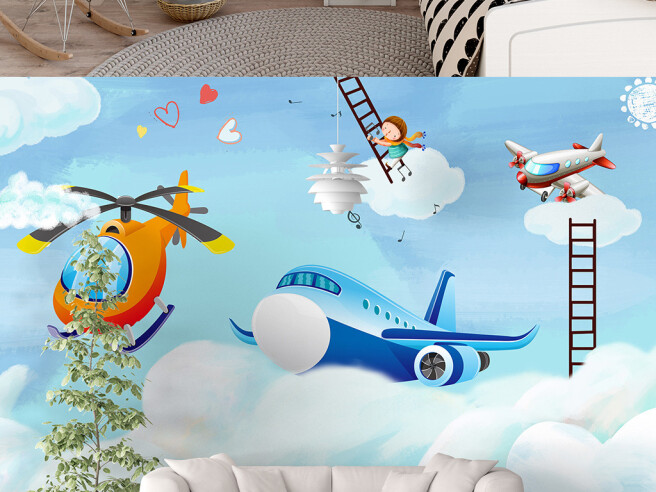 Фотообои Самолет на облаке