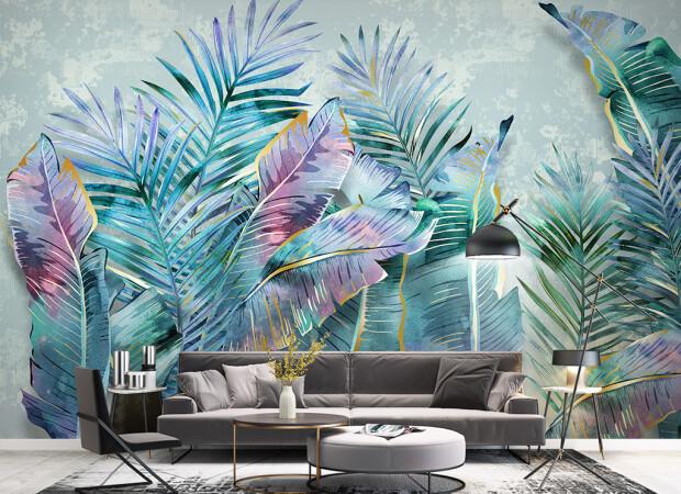 пальмовые листья на бетоне