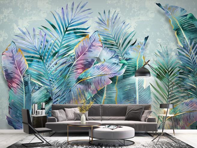 Фотообои пальмовые листья на бетоне