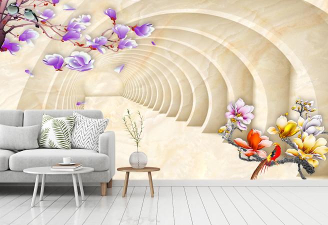 Фотообои тоннель с орхидеями