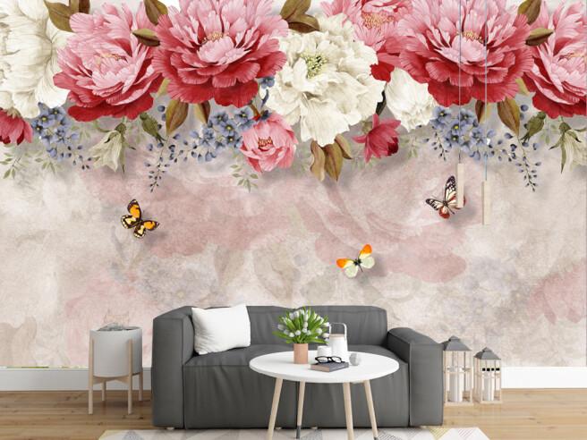 Фотообои Цветочки и бабочки