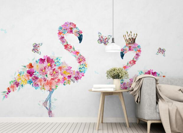 Фламинго из цветов