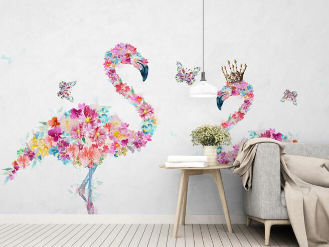Фотообои Фламинго из цветов