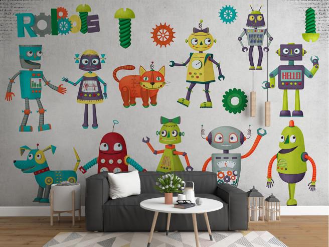 Фотообои Разноцветные роботы