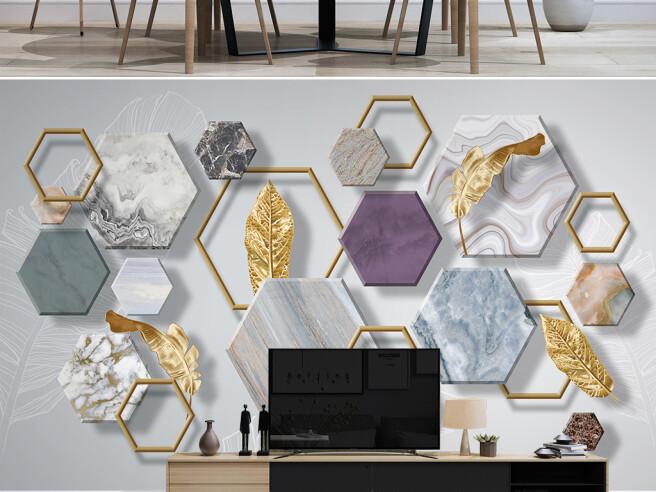 Фотообои Каменная геометрия с золотыми листьями