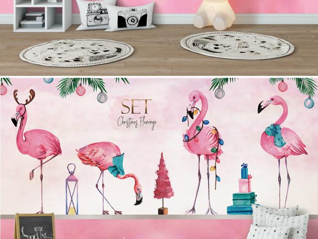 Фотообои Четверо фламинго