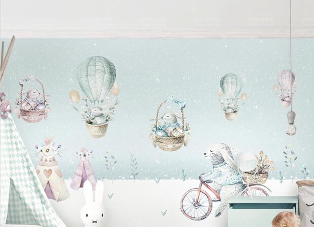 Счастливые зайцы на шарах и велосипеде