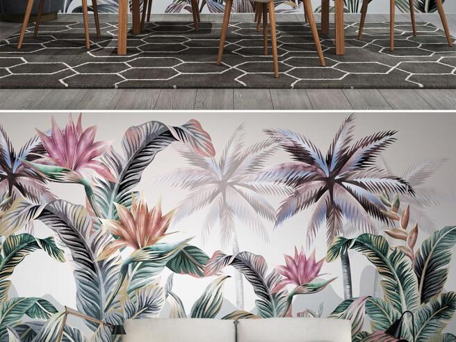 Фотообои Разноцветные пальмы