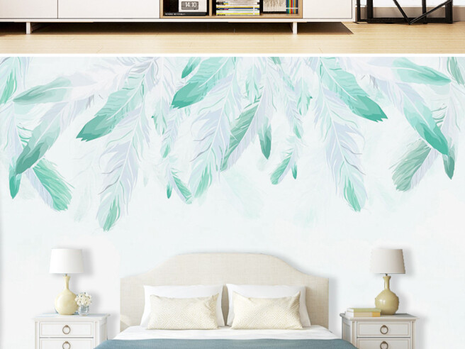 Берюзовые перья на белой стене