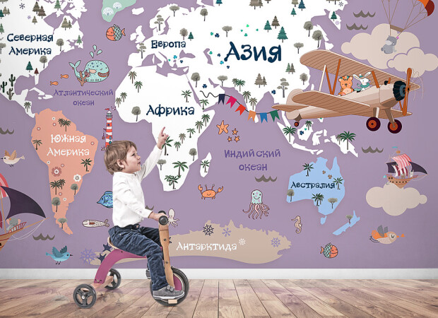 Карта мира в лиловых тонах