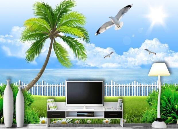 Чайка над пальмой