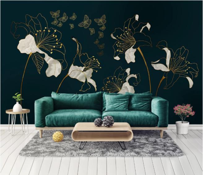 Фотообои белые с золотым цветы