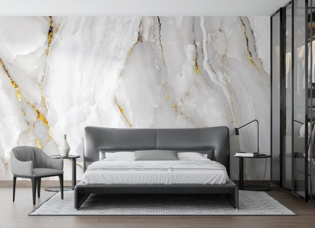 белый мрамор в спальне