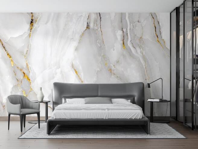 Фотообои белый мрамор в спальне