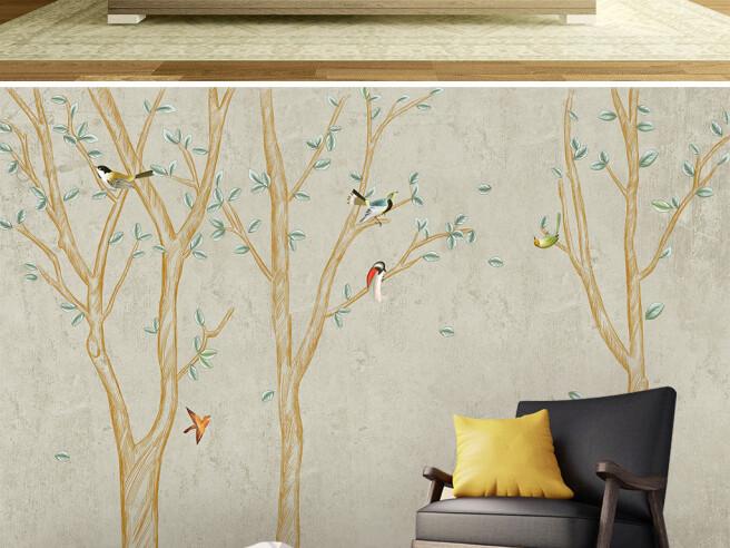Фотообои Птицы на золотом дереве