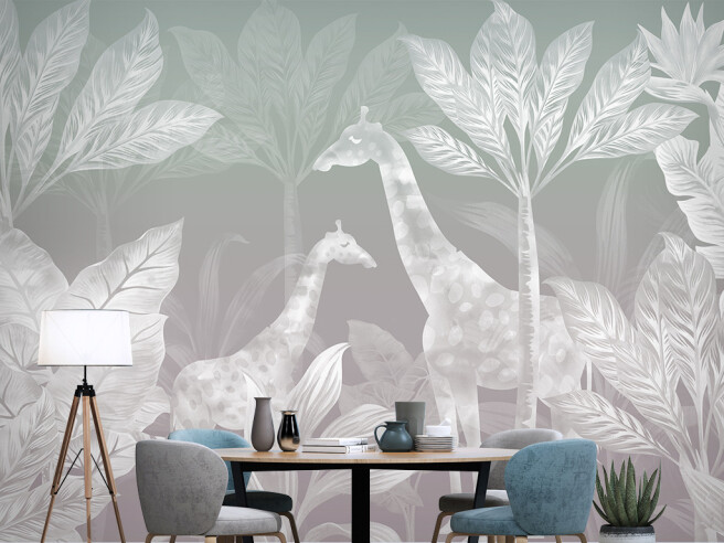 Прозрачные пальмы и жирафы на сером фоне