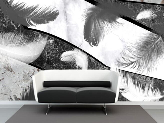 Фотообои Перья на черно-белом граните